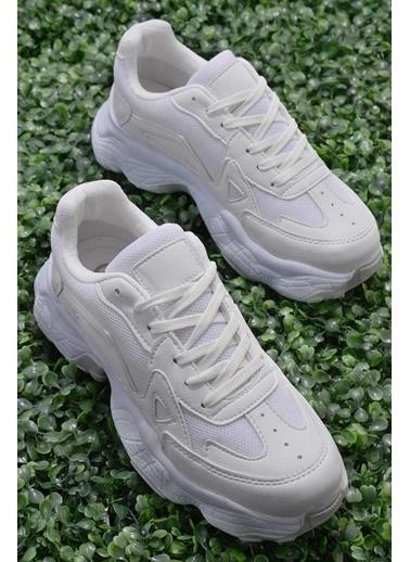 Bambi Nubuk Kadın Sneaker K01876010071 Beyaz